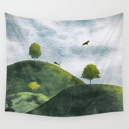 Landscape wildlife in watercolor Wall Tapestry
