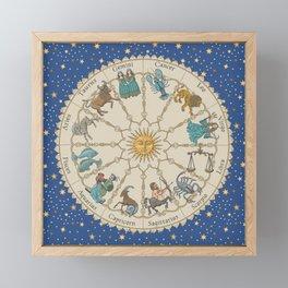 Vintage Astrology Zodiac Wheel Framed Mini Art Print
