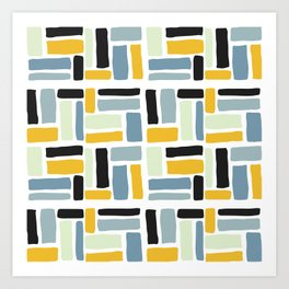 Abstract yellow black geometric modern brushstrokes  pattern Art Print