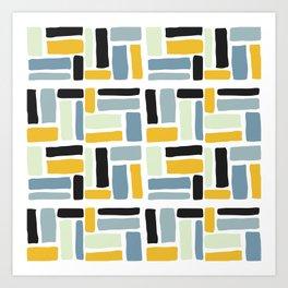 Abstract yellow black geometric modern brushstrokes  pattern Art Print