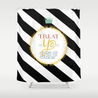treat yo self Shower Curtains featuring Treat Yo Self by Homme Sur La Lune