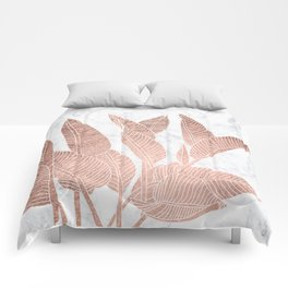 Modern faux Rose gold leaf tropical white marble illustration Comforters