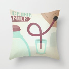 Drink Milk Throw Pillow