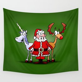 Santa Claus, his reindeer and a unicorn Wall Tapestry
