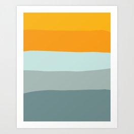Zen Ocean Stripes Art Print