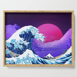 Synthwave Space: The Great Wave off Kanagawa #2 Serving Tray