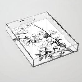 Cherry Blossoms Minimal Drawing Acrylic Tray