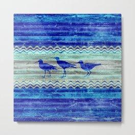 Rustic Navy Blue Coastal Decor Sandpipers Metal Print