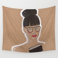 glasses Wall Tapestries featuring Glasses by Elisabet Martí