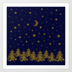 Sparkly Christmas tree, moon, stars Art Print