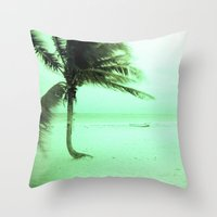 palm Throw Pillows featuring Palm by Julia Aufschnaiter