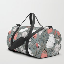Seamless pattern design with hand drawn flowers and floral elements Duffle Bag