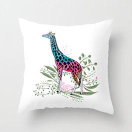 Happy Spring Giraffe Throw Pillow