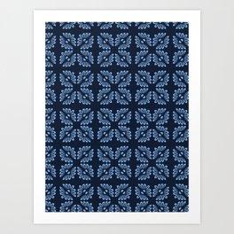 Indigo blue flower motif Japanese style. pattern. Art Print