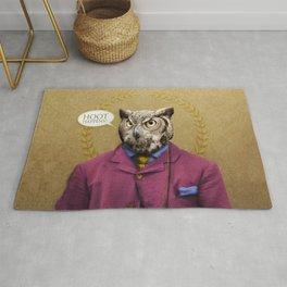 "Mr. Owl says: ""HOOT Happens!"" Rug"