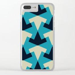 Geometric pattern summer blue invert Clear iPhone Case
