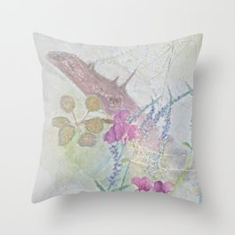Sweet Peas and Spider Webs Throw Pillow