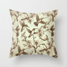 Sepia Hummingbird Pattern Throw Pillow
