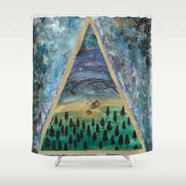 camping mountain galaxy dreamscape Shower Curtain