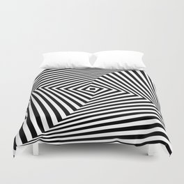 Op art rotating square in black and white Duvet Cover