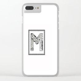 Zentangle M Monogram Alphabet Initials Clear iPhone Case