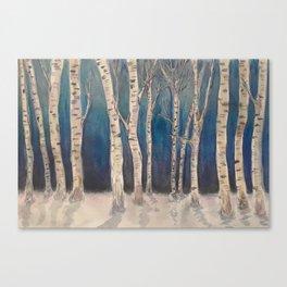 Birch Grove At Midnight Canvas Print