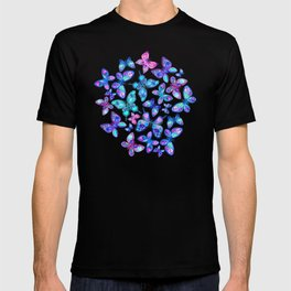 Watercolor Fruit Patterned Butterflies - aqua and sapphire T-shirt