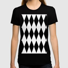 LARGE  WHITE AND BLACK   HARLEQUIN DIAMOND PATTERN T-shirt