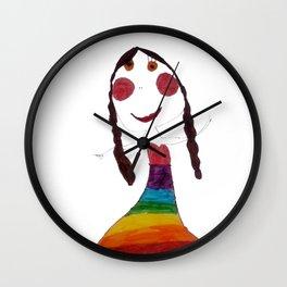 Rainbow Patience Girl Kids Wall Clock