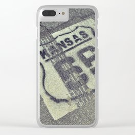 Historic Route 66 marker in Kansas on asphalt. Clear iPhone Case