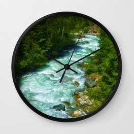 Here Be Bears - Black Bear and Wilderness River Wall Clock