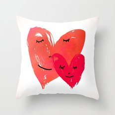 Watercolor couple of hearts Throw Pillow