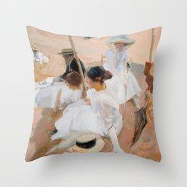 Joaquin Sorolla Y Bastida - Under The Awning, On The Beach At Zarauz  Throw Pillow