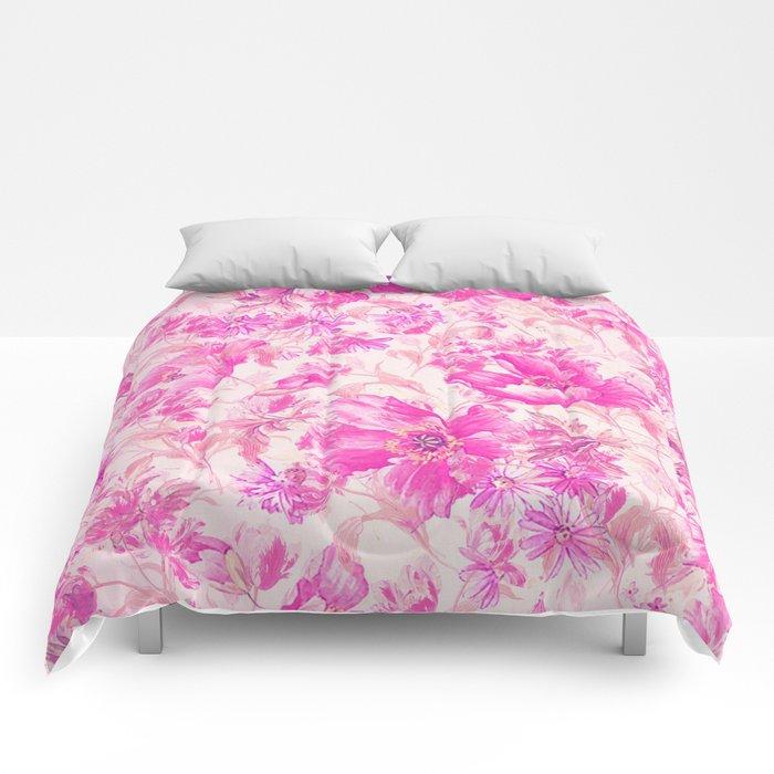 simple pink flowers Comforters