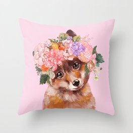 Baby fox with Flower Crown Throw Pillow