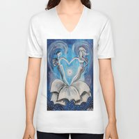 wedding V-neck T-shirts featuring Wedding by sladja