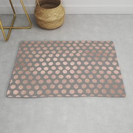Simple Hand Painted Rosegold polkadots on gray background Rug