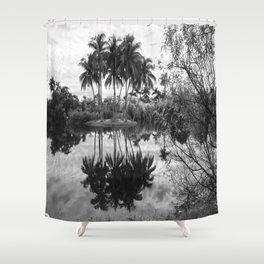 Palm Island  Black&White Shower Curtain