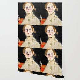 12,000pixel-500dpi - Self Portrait with Black Background - Helene Sofia Schjerfbeck Wallpaper