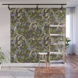Blue morning glory with ornaments on brown background Wall Mural