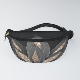 Gray Black Agave with Gold Glitter #1 #shiny #tropical #decor #art #society6 Fanny Pack