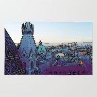 vienna Area & Throw Rugs featuring Vienna,City, toony by MehrFarbeimLeben