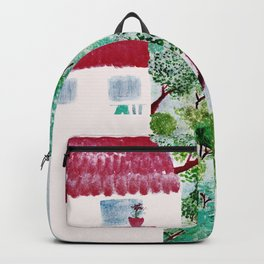 Village houses in the woods watercolor Backpack