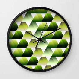 Soft green gradient 3d triangles Wall Clock