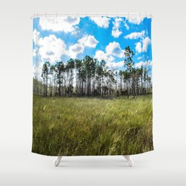Cypress Trees and Blue Skies Shower Curtain