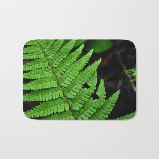 Bright Green Fern in the Forest Bath Mat