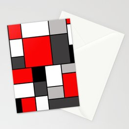 Red Black and Grey squares Stationery Cards