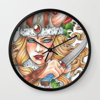 viking Wall Clocks featuring Viking by Little Lost Forest