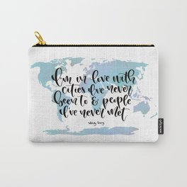 In love with cities and people quote and map Carry-All Pouch