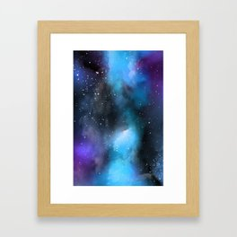 Blue Purple Galaxy Watercolor Artwork Framed Art Print